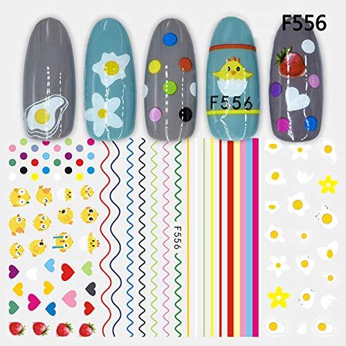 gelsticker Set für Nail Art Decal, super dünn, 3D englische Buchstaben, Tier, Obst, Blätter, Nagelsticker, selbstklebend 56# ()