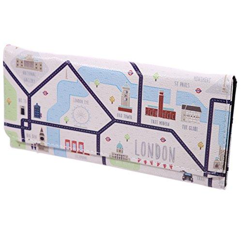 Unbekannt Damen Geldbörse XL Stadtplan London Portmonee Geldbeutel Langbörse Brieftasche