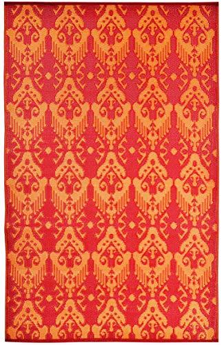 Outdoor-rot-teppich (Green Decore Outdoor wendbar Kunststoff Plastic Teppich (120 x 180 cm, Ikat Rot/Orange))