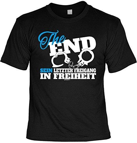 Junggesellen T-Shirt The End Sein letzter Freigang in Freiheit Leiberl Junggeselle Poltern Polterabend Leiberl Schwarz