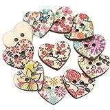 Jooks 25 Stück Holz Knopf Knöpfe in Herzform und mit Blumendruck Knöpfe Selberaufnähen Für Nähen Und Basteln Handwerk Ver
