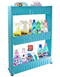 House of Quirk Slim 3-Tier Plastic Side-Storage Rack Shelf with Wheels (30 cm x 20 cm x 11 cm, Blue)