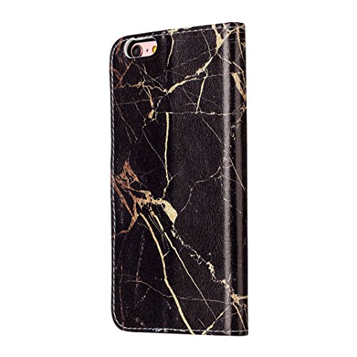 iPhone 6 Case Leder, iPhone 6S Case Leder, iPhone 6 Bumper Hülle, Moon mood® Ledertasche für Apple iPhone 6/6S (4.7 Zoll) , PU Leder Cover Hülle Folio Handyhülle Gemalt Muster Premium Bumper Tasche Ba Schwarze Marmor