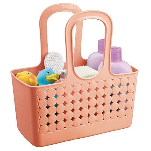 mDesign Cesta con asas en color rojo coral - Muy práctica como almacenaje de baño, organizador de ducha o contenedor para productos de aseo
