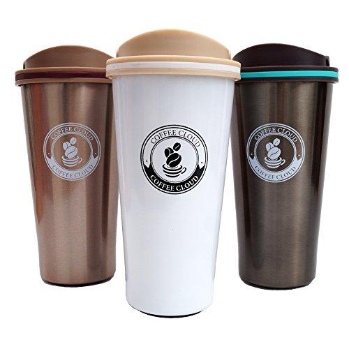 Edelstahl Kaffeebecher von Coffee Cloud | Coffee to go | 500ml | Thermobecher | Thermobehälter | Doppelwandig vakuumisolierter Travel Mug | Autobecher | Trinkbecher | Thermo Becher aus Edelstahl | Isolierbecher BPA Frei, Leicht & Auslaufsicher (Weiß)