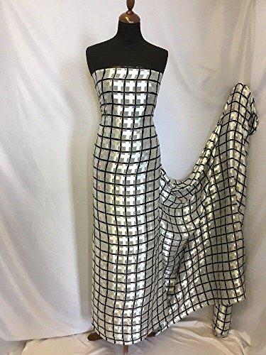 NEU Designer 100% Seide Satin Chiffon Check Burnout Print Stoff Kleid Schal 137,2cm -