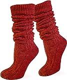 Zopfstrumpf elegant mit doppeltem Zopfmuster für Kniebundhosen und Trachtenkleidung Farbe Rot lang Größe 35/38
