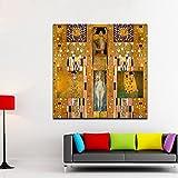 XIAOXINYUAN Golden Poster Moderne Öl Malerei Sammelt Leinwandbilder Wand Bilder Für Wohnzimmer Home Decor Gedruckt Rahmenlos 50X50 cm Ohne Rahmen