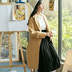 MO Winter Small Fresh and Pure Color Slim Long Belt Long Sleeves Jacket Female from MO