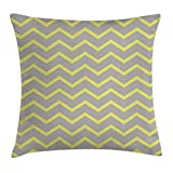 KLYDH Grey and Yellow Throw Pillow Cushion Cover, Modern Geometrical Triangles Zig Zags Wavy Modern Image Print, Decorative Square Accent Pillow Case, 18 X 18 Inches, Light Grey and Mustard
