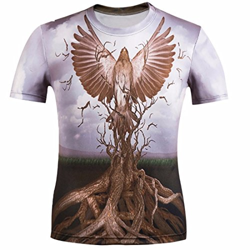 Men's 3D Innovative Animals Lion Printed Cotton Short Sleeve Casual Tee Shirts Army Green