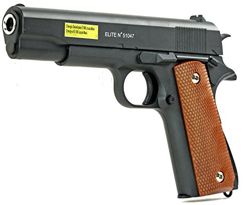 Softair-Pistole Stahl Waffe Airsoft Vollmetall schwarz braun Federdruck ca. 500 g schwer ab 14 Jahre unter 0,5 Joule 6 mm ca. 22 cm lang