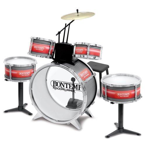 Bontempi JD4830 - Bontempi Schlagzeug mit Hocker, 6-teilig, rot + silber