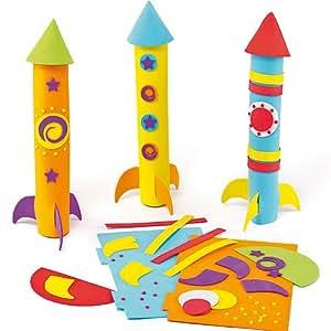 baker ross 3d foam rocket kits pack of 3 toys games. Black Bedroom Furniture Sets. Home Design Ideas