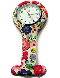QBD Clip Series-Nurses Glowing Hands Red Cross Patterned Silicon Rubber Fob Watch - Flowers 05