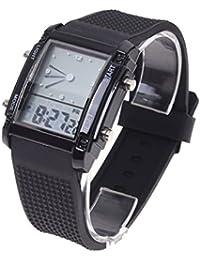 SODIAL(R) Alarma de dia de fecha digital LCD tiempo dual flash Reloj de pulsera deportivo para chicos hombre LED Regalo