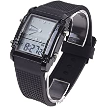 21409122d9e9 SODIAL(R) Alarma de dia de fecha digital LCD tiempo dual flash Reloj de pulsera  deportivo para chicos hombre LED Regalo