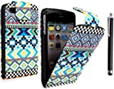 FOR APPLE IPHONE 4 4S VARIOUS PU LEATHER MAGNETIC FLIP CASE COVER POUCH + FREE STYLUS (Aztec Light Tribal Retro Vintage)
