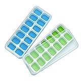 TOOGOO Vassoi Ice Cube 2 confezioni, vaschette in silicone e flessibile da 14-Ice con coperchio rimovibile resistente ai versamenti, durevole e lavabile in lavastoviglie