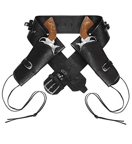 Widmann 01052 - Cowboygürtel schwarz, mit 2 Tasche -