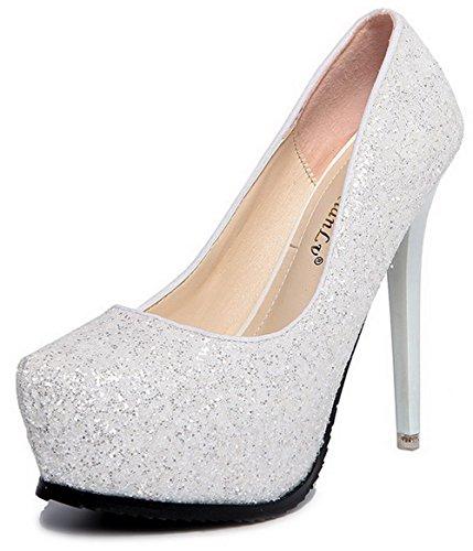 AalarDom Femme Mosaïque Stylet Rond Tire Chaussures Légeres Blanc-Tissu à Paillette
