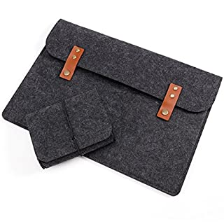 Anladia 15 Inch Felt Laptop Sleeve Carrying Case with Mouse Pouch for 2017 & 2016 MacBook Pro - Dark Grey