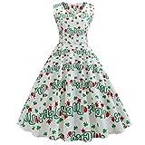 St. Patrick's Day Damen Kleider, SANFASHION klee Ärmellos Blumenmuster Abendkleid V Ausschnitt Partykleid Prom Swing Dress