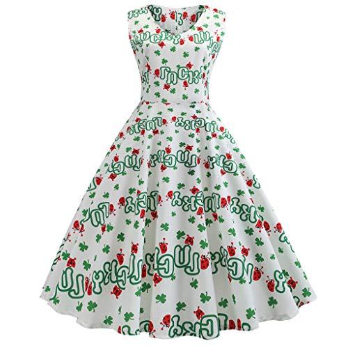 IZHH St. Patrick's Day Damen Kleider Frauen Klee -