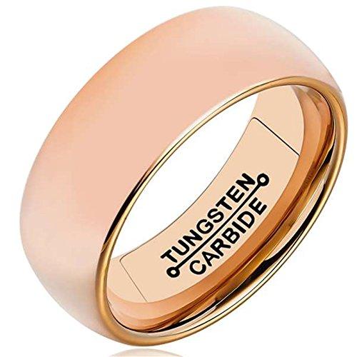AMDXD Herren Ring Wolfram Stahl (mit Gratis Gravur) Runde 8MM Rose Gold Ehering 70 (22.3)
