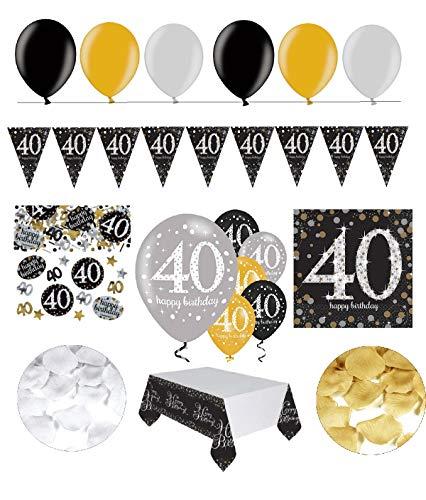 FesteFeiern - Juego para celebración del 40 cumpleaños,incluye 31 piezas de decoración para 40 años en color plata y negro
