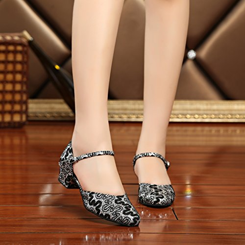 Minitoo - Ballroom donna Black/Silver-4cm Heel