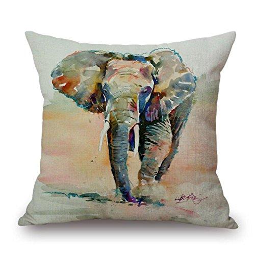 Nunubee Retro Elefant Tier Baumwolle Leinen Dekor Kissenbezüge Kissenbezug Kissenhülle, Stil 9 -