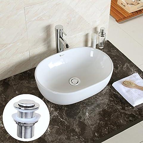 GaGa Oval Bowl Top Ceramic Basin Bowl Sink Vessel Porcelain Vanity Bathroom Kitchen with Pop Up