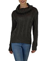 S&LU Damen Schalkragen grobstrick Pullover mit tollem Strick- Zopfmuster Gr.: S/ M (34-38), L/ XL (40-42)