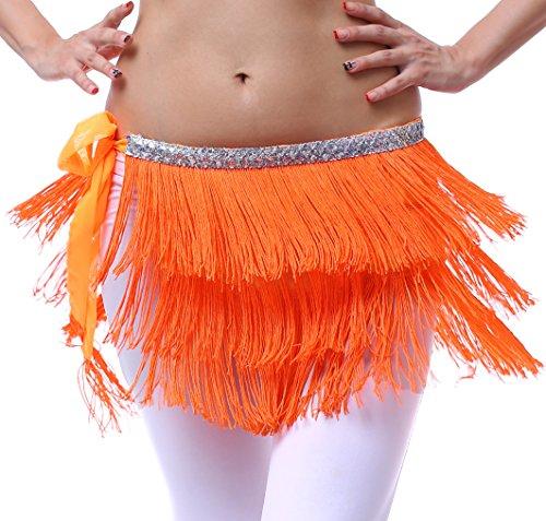 Hip Schal für Bauchtanz und Latin Dance mit Fransen und Pailletten für Damen