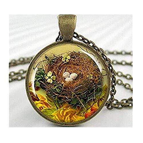 Bird Nest Anhänger Charm Vogel Ei Spring Season Halskette -