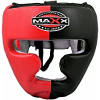 Maxx Protective Gear Max Black/Red Leather Full Face Boxing mma Head Guard sizes small- xlarge (Small)