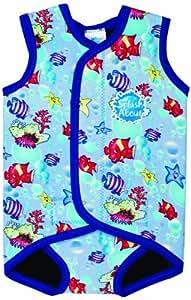 Splash About Baby Wrap - Neoprene Wetsuit - Fish Print Blue Binding, Medium, 6-18 Months
