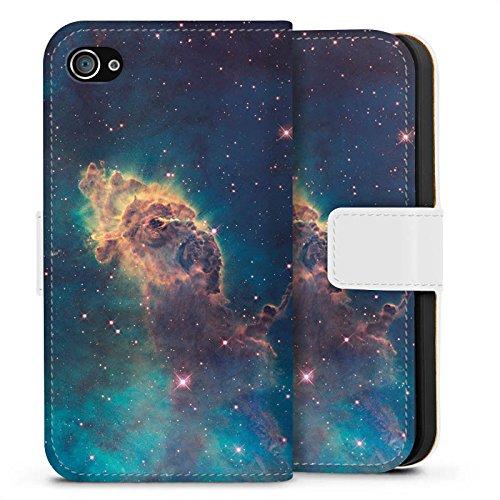 Apple iPhone X Silikon Hülle Case Schutzhülle Space Muster Carina Nebel Sideflip Tasche weiß