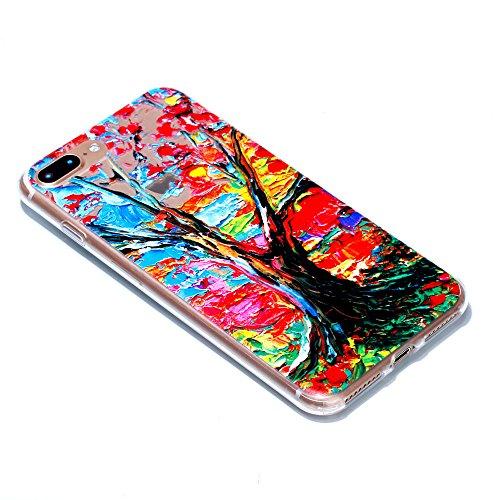 [ 3 Pack ] iPhone 7 Plus Hülle, BENKER Kreativ Anti-Kratz Nicht Verblassen 3D Relief Malerei TPU Silikon Telefon Fall - SET 1 SET 1