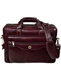 Hammonds Flycatcher Original Brown Leather 15.6 inch Laptop Messenger Bag with Trolley Straps (L=39,B=10.5, H=27.5 cm) LB168