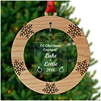 PERSONALISED 1st Christmas as an ENGAGED COUPLE Xmas Tree Bauble Decoration Ornament - Cherry Veneer and Acrylic Engraved Christmas Tree Ornament - Keepsake Christmas Gifts Presents