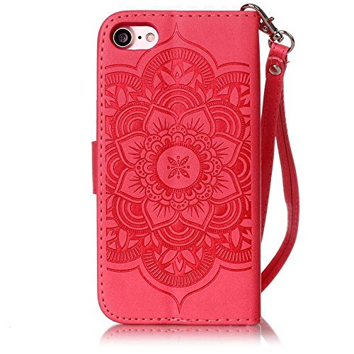 iPhone 7 Plus Case, KKEIKO® iPhone 7 Plus Wallet Case, Flip Leather Case and Cover with Bling Rhinestone, Book Style Bumper Cover Case for Apple iPhone 7 Plus with Free Tempered Glass Screen Protector (Red)