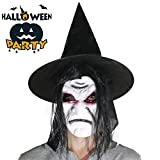 Halloween Hexe Latex Maske Schreckliches Gesicht mit Haar und Steeple Kappe Hohe Simulation Creepy Scary Alte Zauberer Maske Mit Hut Für Halloween Kostüm Party