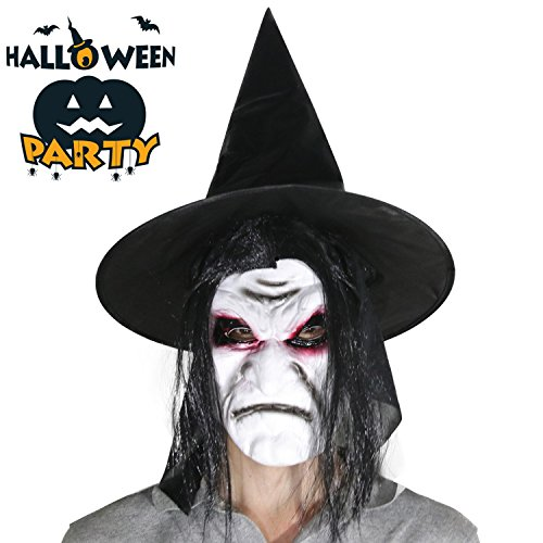 Halloween Hexe Latex Maske Schreckliches Gesicht mit Haar und Steeple Kappe Hohe Simulation Creepy Scary Alte Zauberer Maske Mit Hut Für Halloween Kostüm (Kostümen Scary Haar Masken)