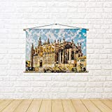 ArtzFolio Cathedral of Palma De Mallorca, Spain D3 Canvas Painting Tapestry Scroll Art Hanging 27 X 18Inch