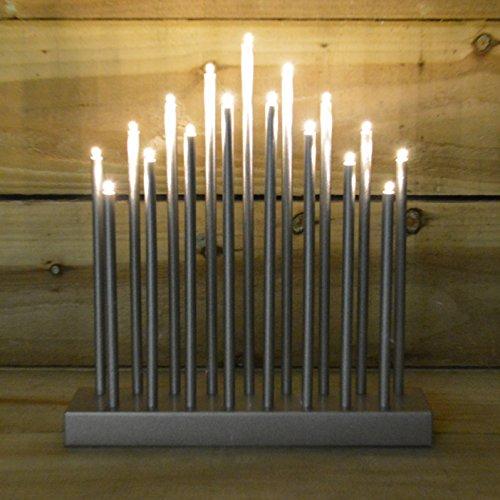 (Premier Decorations Marken 29cm Kerzenbrücke mit Timer & 17warmweiße LED-Lichter, silber, 29 cm)