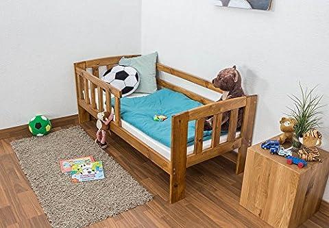 Kinderbett mit Absturzsicherung Kiefer Vollholz massiv Eichefarben A17, inkl. Lattenrost - Abmessung 70 x 160 cm