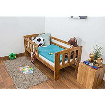 Toddler Bed A17 Solid Pine Wood Oak Finish With Slats And Safety Rails