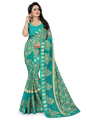 Oomph! Women's Printed Brasso Sarees - Teal Blue
